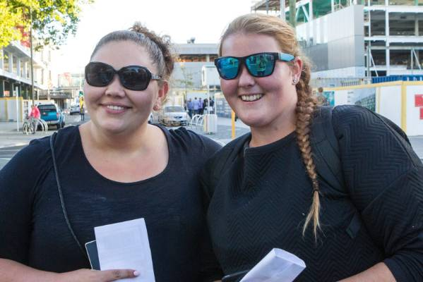 Tania Mazzola, 22 (L) and Sarah-Jane Norris, 21 heading for Christchurch's square to see the new year in.