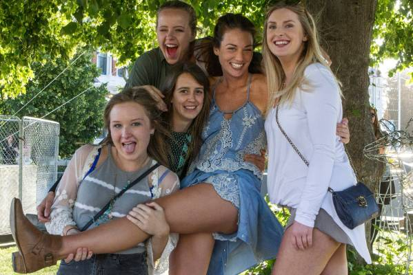 Devon Smith (C) with her girlfriends ready to party in Christchurch.