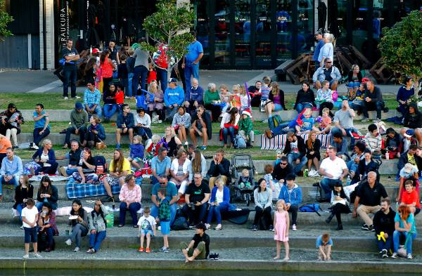 The early crowd at the start of The Big Band New Year's Eve - Summer City celebration at Frank Kitts Park, Wellington.