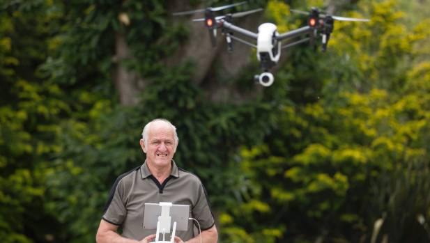 Brin Hitchens and his drone that Waikato District Council won't let him fly.
