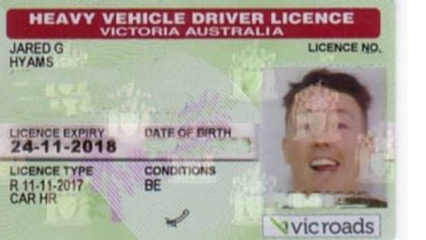 Hyams' new VicRoads driver's licence.