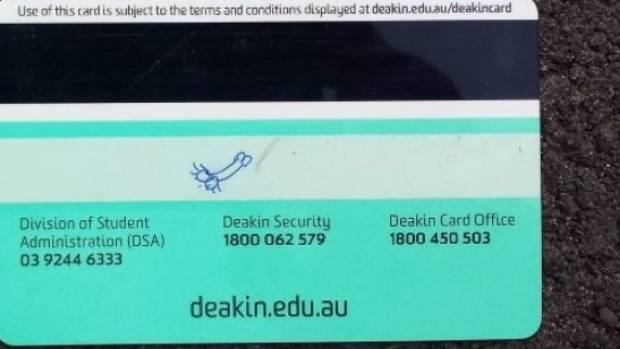 Jared Hyams' Deakin University student card.