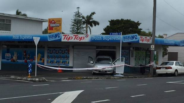 Ram raiders used a car to reverse into Point Superette in Pt Chevalier on January 9.