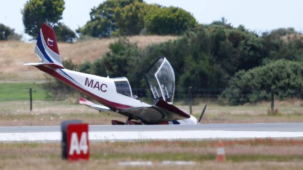 The ZK-MAC Sportstar Plus light aircraft that crash landed at Nelson Airport.