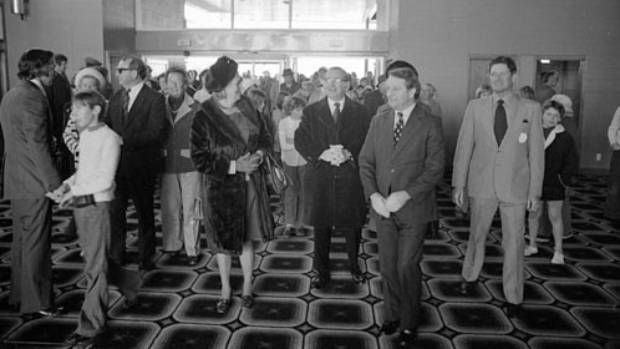 Former prime minister Bill Rowling, second from right, at the 1975 opening of Nelson Airport Terminal.