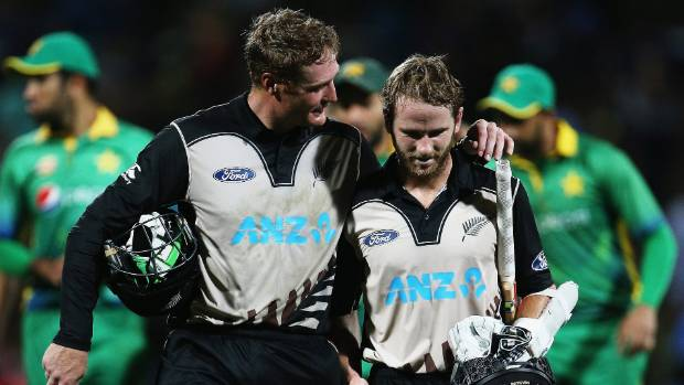 Martin Guptill and Kane Williamson celebrate their world record partnership for New Zealand against Pakistan in Hamilton.