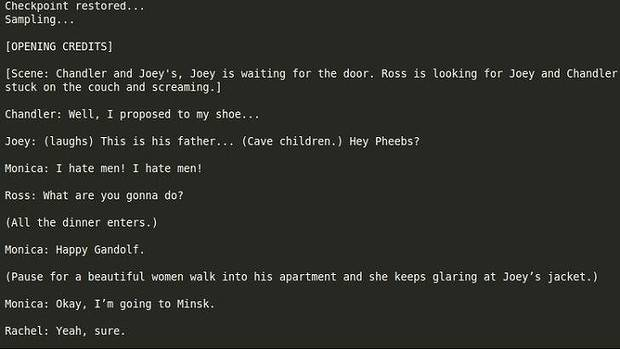 Not yet perfect ... A sample of a possible Friends script generated using artificial intelligence and previous episodes.