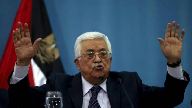 Palestinian President Mahmoud Abbas gestures as he speaks to the media in the West Bank city of Ramallah.