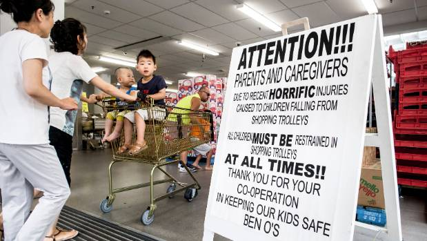 Petone Pak 'n Save placed this sign near its entrance after a toddler fell out of a trolley and was badly hurt.