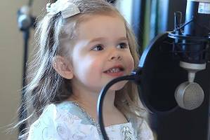 Three-year-old Claire Crosby recording Part of My World.
