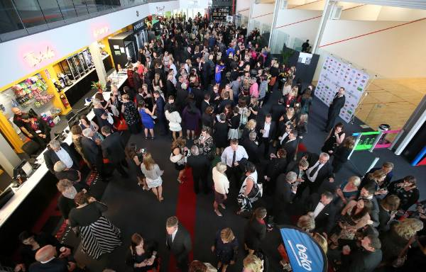 A large crowd gathers in the foyer at ILT Stadium Southland ahead of Simply Nigella in Invercargill on Tuesday.