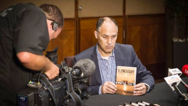 Ian Wishart gives a press conference to journalists in Auckland following the release of his book Elementary.