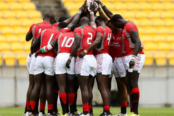 Kenya players form a team huddle at the 2016 Wellington Sevens.