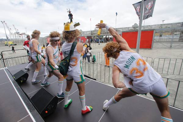 Semi pro film theme workmates from Melbourne at the Wellington Sevens.