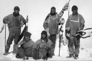 The Scott team at South Pole in 1912.