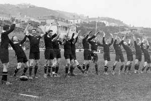 All Blacks perform the haka before playing New South Wales at Athletic Park, Wellington on September 15, 1923. NZ won 38-11.