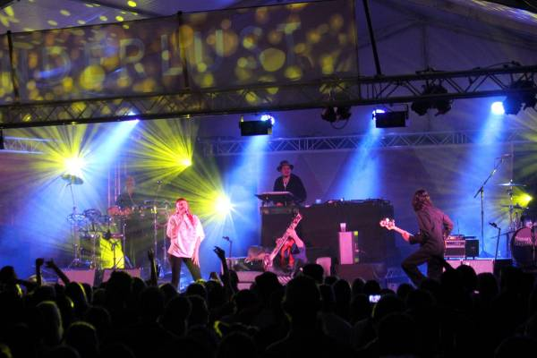Thievery Corporation's live band play for the first time in New Zealand, delivering a fusion bossa nova, reggae, trip ...