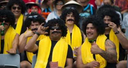 A bunch of Billy T fans at the Auckland Nines.