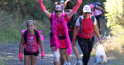 Pink Hike organiser Luisa Coyle, centre, at the inaugural event last year.
