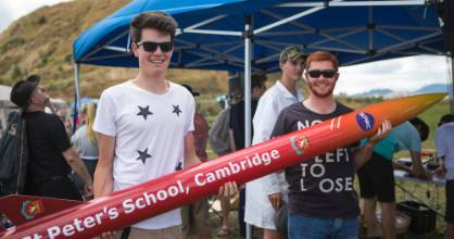 Scott Yearbry and Kent Hawkins of St Peter's School, wait excitedly to launch their rocket.