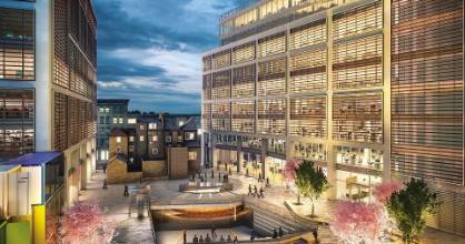 This new Shoreditch development in north-east London is being built on the site of William Shakespeare's Curtain Theatre. The excavated remains of the theatre will be able to be viewed through glass in a public square.