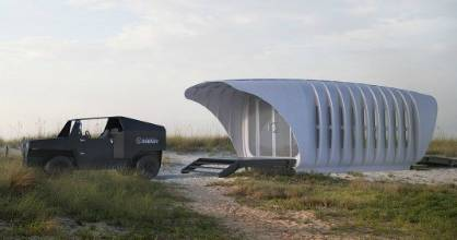 This 3-D-printed pod home, designed by Skidmore, Owings & Merrill, features a shell made from solid polymer panels.