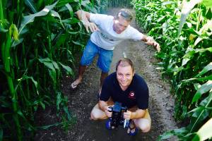 Omaka Maize Maze owner Paul Baker, left, and Blenheim filmmaker Aaron Falvey are getting ready to shoot the promotional video for the horror maze night.