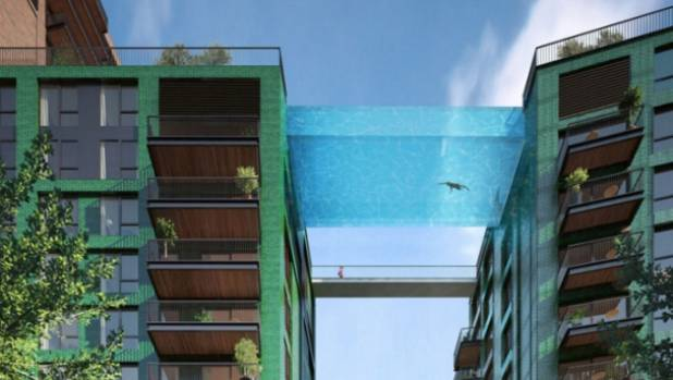 A glass-bottomed pool is a key feature of the Embassy Gardens project in London.