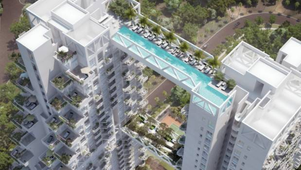 Suspended between two towers 100 metres above the ground, the pool at the new Sky Habitat development comes with a great view.