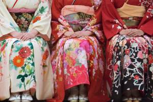 View of young women in kimonos at the Seijin no Hi ceremony in Kanazawa.
