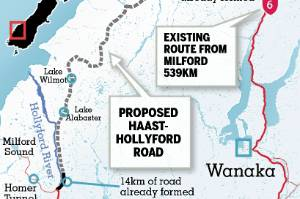 The proposed Haast-Hollyford toll road.