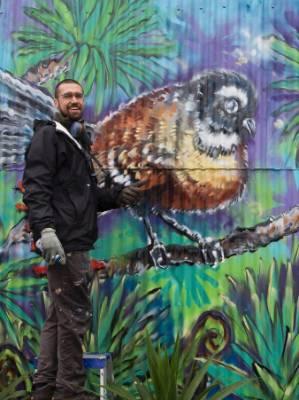 "Joanthan Muzacz's  first Nelson creation was painting a garage off Milton St, which he said was the start of the popular ""birds of Milton St series""."