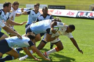 Chiefs winger Glen Fisiiahi on his way to the try-line against the Waratahs at Rotorua.