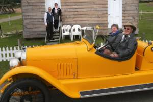 Nelson's Ruth and Kevin Mercer stopped by Bushtown in Waimate in their 1923 Mercer to look at the home of Kevin's great-grandparents. They were part of the Waimate Vintage Car Club's 35th Annual Wallaby Rally and were accompanied by Andre and Christina Kraenzlin, of Christchurch.