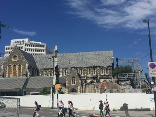Parts of the Christchurch Cathedral have come away during Sunday's earthquake.