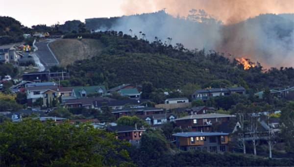 The hillside blaze, viewed from Totara Park.