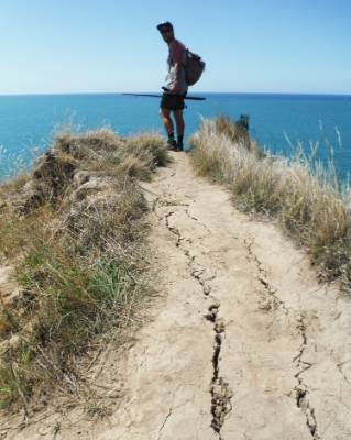 A pair of friends found their walking track at Taylors Mistake began cracking beneath their feet during the quake.