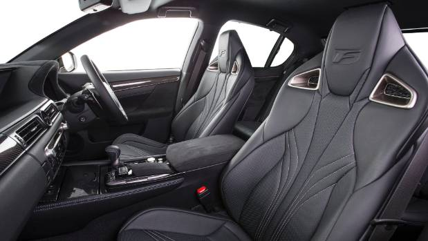 The sporting interior of the Lexus GS F.