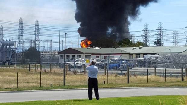 Residents reported hearing explosions as a power substation caught fire on Monday.