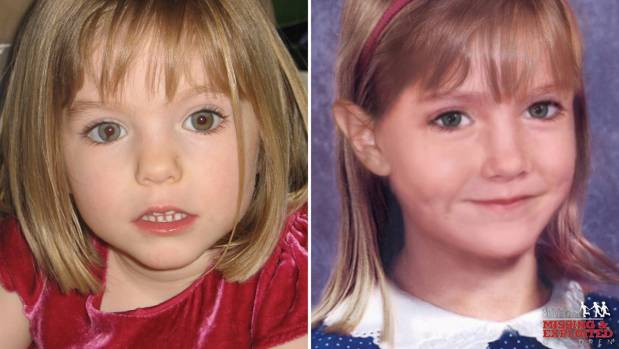 "Maddie McCann at the age of 3 (left), and an ""age progression"" image of her at the age of 6."