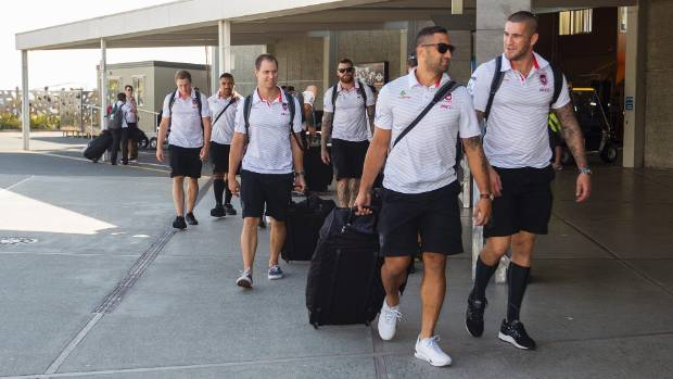 Benj Marshall and Joel Thompson from the St George Illawarra Dragons NRL team arrive at Nelson Airport before Saturday's match against the Warriors.