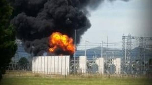 Flames were seen leaping from the substation.