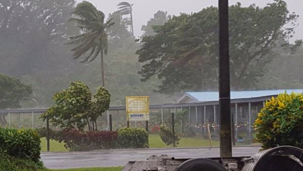 Suva, Fiji's capital, pictured as the storm closes in on the island.