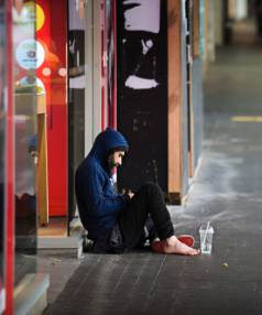 A homeless man in Auckland's CBD. The housing crisis is forcing people to look for accommodation in Wellington but they ...