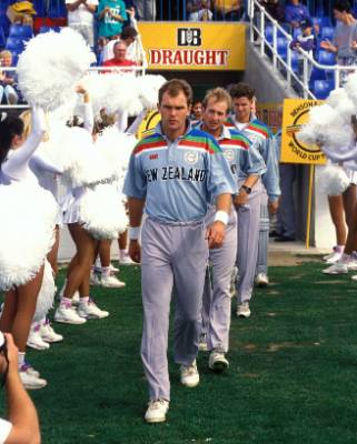 Martin Crowe leads his team onto the pitch for the ill-fated 1992 Cricket World Cup semi-final against Pakistan.