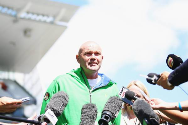 Martin Crowe talks to the media about his illness at Eden Park on January 7, 2015.