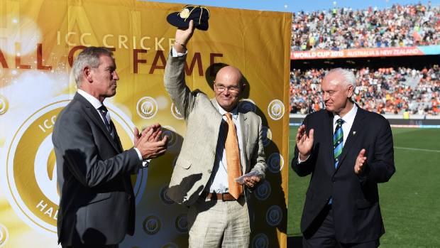 Crowe was inducted into the ICC Hall of Fame during the ICC Cricket World Cup match between New Zealand and Australia at ...