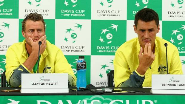 "Australian Davis Cup coach Lleyton Hewitt later said there was ""no doubt"" Nick Kyrgios was sick, after Bernard Tomic ..."