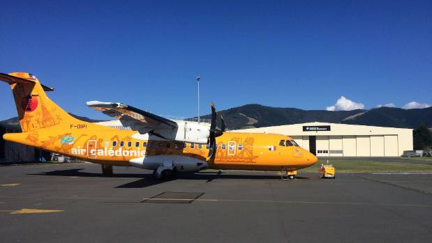 The first Air Caledonie ATR aircraft arriving in Nelson on Sunday.