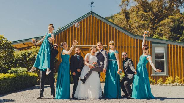 The wedding party shows off its silly side.
